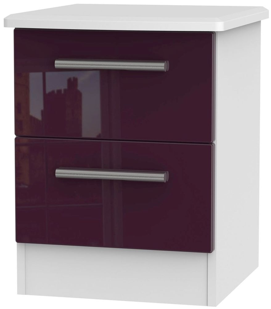Knightsbridge High Gloss Aubergine and White Bedside Cabinet - 2 Drawer Locker