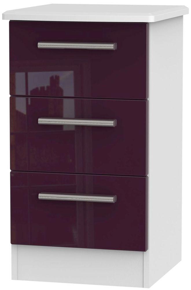 Knightsbridge High Gloss Aubergine and White Bedside Cabinet - 3 Drawer Locker
