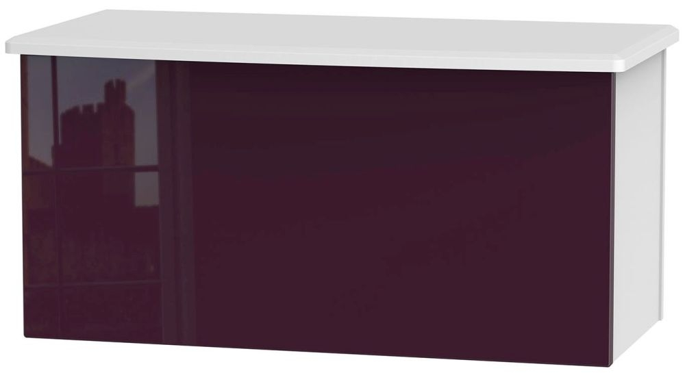 Knightsbridge High Gloss Aubergine and White Blanket Box