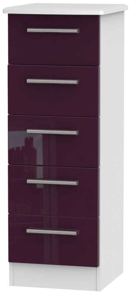 Knightsbridge High Gloss Aubergine and White Chest of Drawer - 5 Drawer Locker