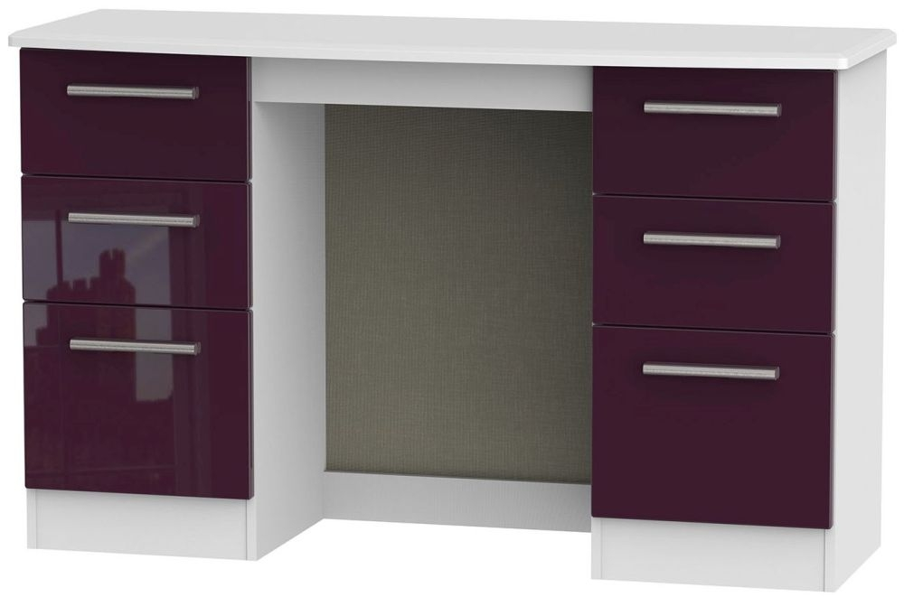 Knightsbridge High Gloss Aubergine and White Dressing Table - Knee Hole Double Pedestal