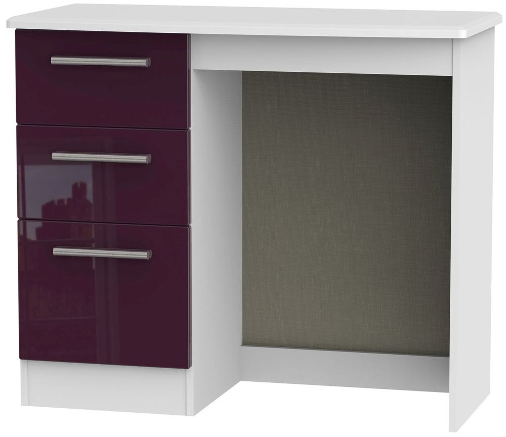 Knightsbridge High Gloss Aubergine and White Dressing Table - Vanity Knee Hole
