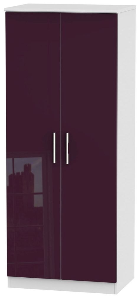 Knightsbridge High Gloss Aubergine and White Wardrobe - 2ft 6in Plain