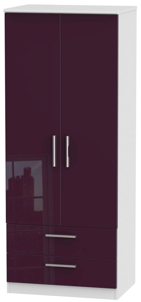 Knightsbridge High Gloss Aubergine and White Wardrobe - 2ft 6in with 2 Drawer