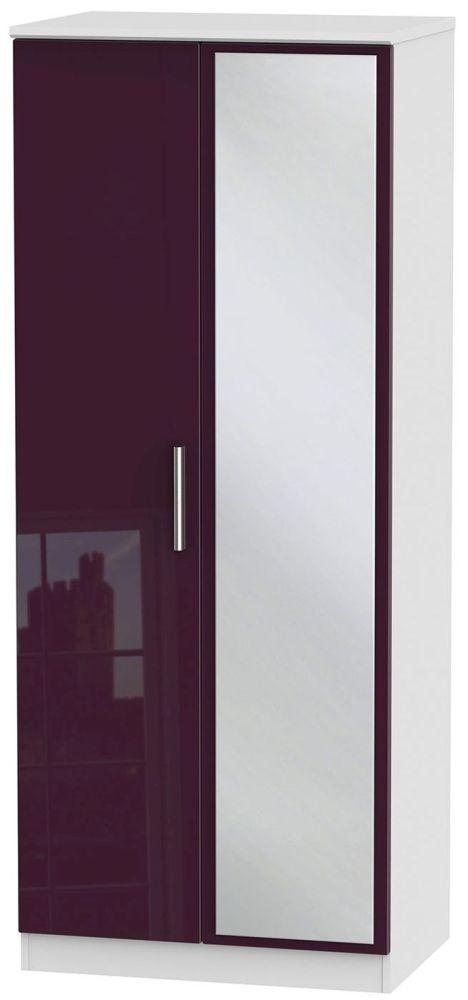Knightsbridge High Gloss Aubergine and White Wardrobe - 2ft 6in with Mirror