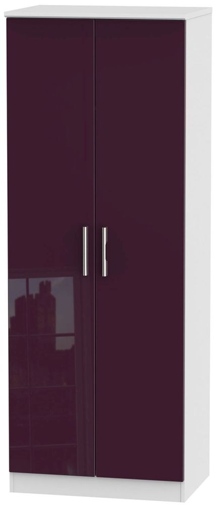 Knightsbridge High Gloss Aubergine and White Wardrobe - Tall 2ft 6in Plain