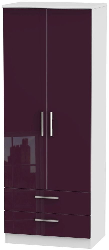Knightsbridge High Gloss Aubergine and White Wardrobe - Tall 2ft 6in with 2 Drawer