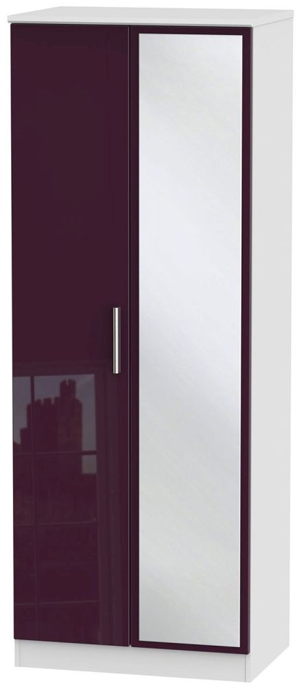 Knightsbridge High Gloss Aubergine and White Wardrobe - Tall 2ft 6in with Mirror