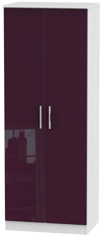 Knightsbridge High Gloss Aubergine and White Wardrobe - Tall 2ft 6in with Double Hanging