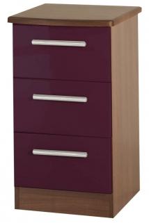 Knightsbridge Aubergine Bedside Cabinet - 3 Drawer