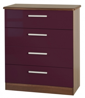 Knightsbridge Aubergine Chest of Drawer - 4 Drawer