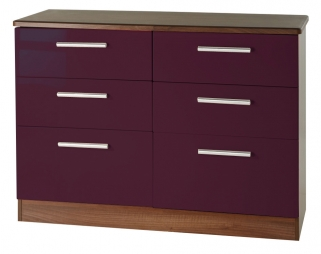 Knightsbridge Aubergine Chest of Drawer - 6 Drawer Midi
