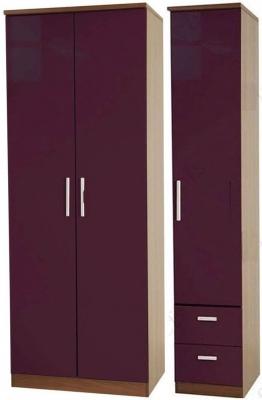 Knightsbridge Aubergine Triple Wardrobe - Plain with 2 Drawer