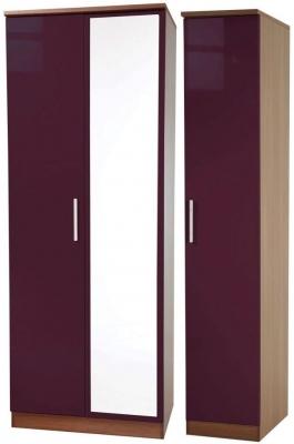 Knightsbridge Aubergine Triple Wardrobe with Mirror