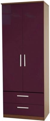 Knightsbridge Aubergine Wardrobe - Tall 2ft 6in with 2 Drawer