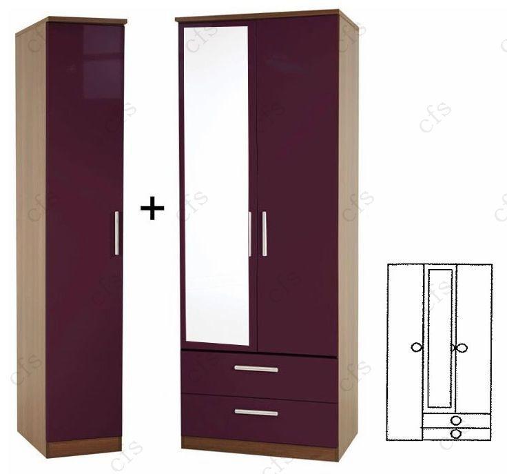 Knightsbridge Aubergine 3 Door Wardrobe with 2 Drawer and Mirror