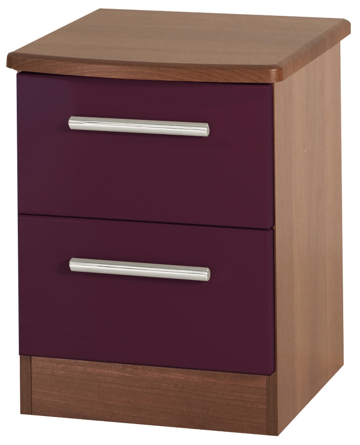 Knightsbridge Aubergine Bedside Cabinet - 2 Drawer Locker