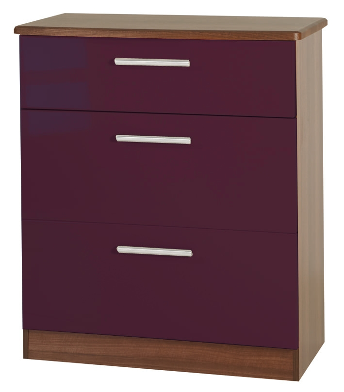 Knightsbridge Aubergine Chest of Drawer - 3 Drawer Deep