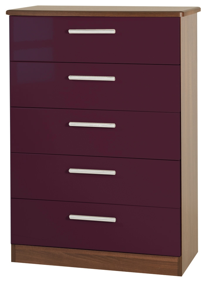 Knightsbridge Aubergine Chest of Drawer - 5 Drawer