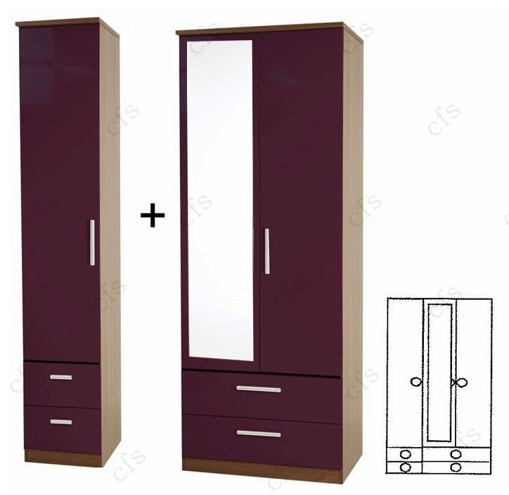 Knightsbridge Aubergine Tall 3 Door Combi Wardrobe with Drawer and Mirror