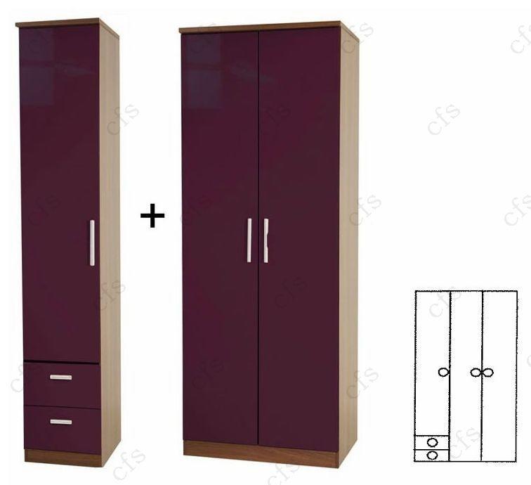 Knightsbridge Aubergine Tall 3 Door Plain Wardrobe with Drawer