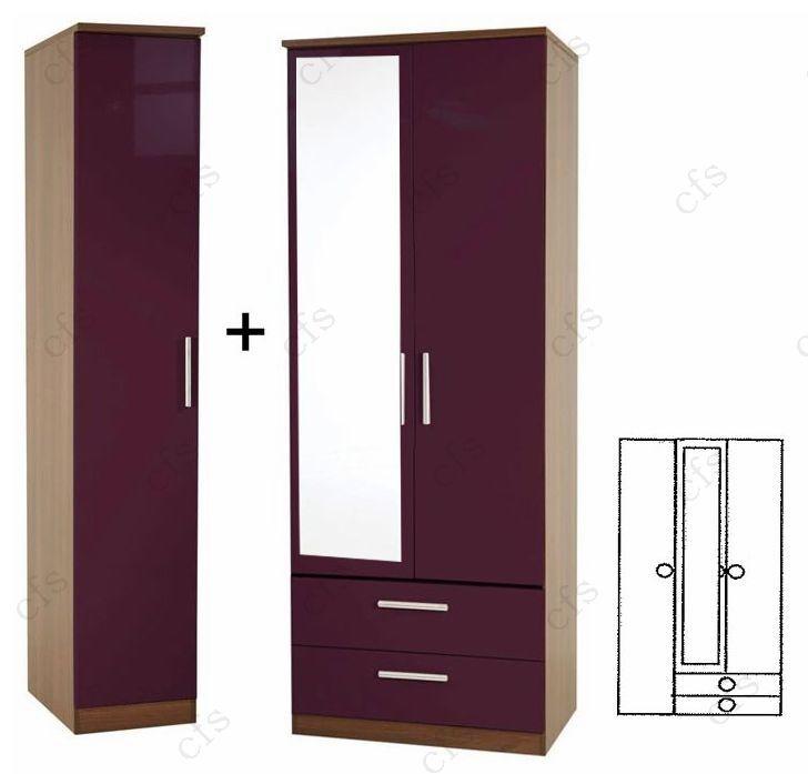 Knightsbridge Aubergine Tall 3 Door Wardrobe With 2 Drawer and Mirror