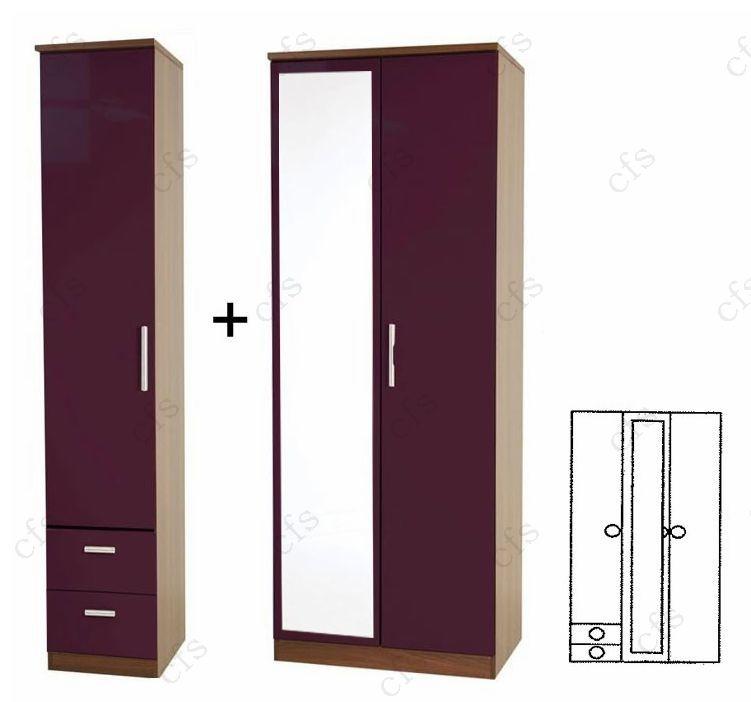 Knightsbridge Aubergine Tall 3 Door Wardrobe with Mirror and Drawer