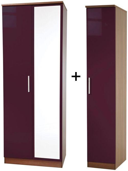 Knightsbridge Aubergine Tall Triple Mirror Wardrobe