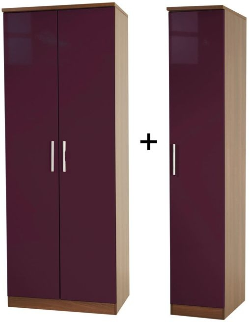 Knightsbridge Aubergine Tall Triple Plain Wardrobe