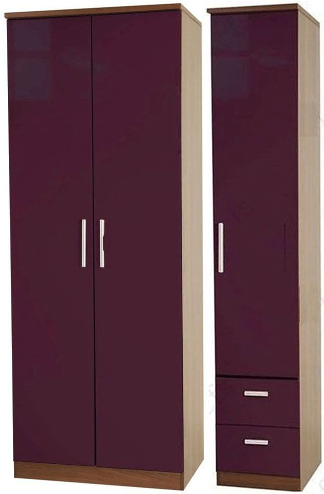 Knightsbridge Aubergine Triple Wardrobe - Plain with 2 Drawer