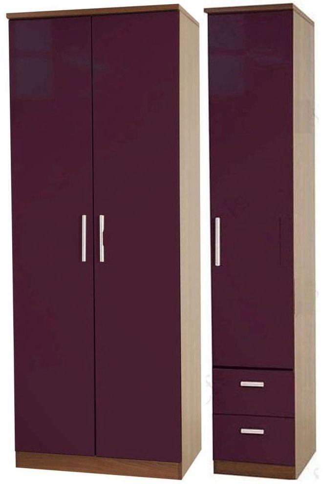 Knightsbridge Aubergine Triple Wardrobe - Tall Plain with 2 Drawer
