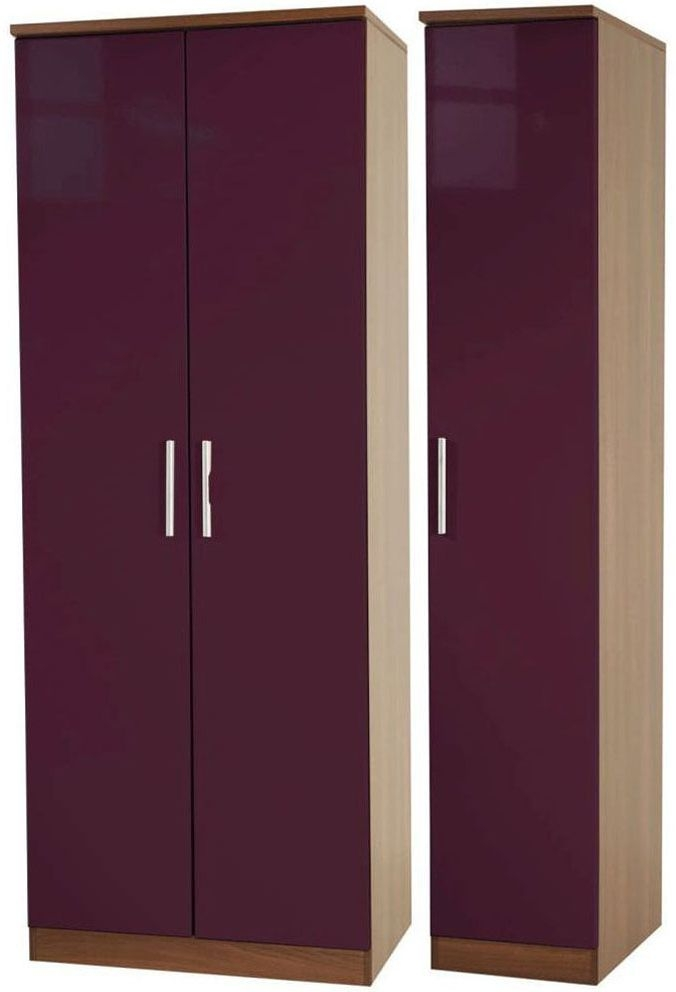 Knightsbridge Aubergine Triple Wardrobe - Tall Plain