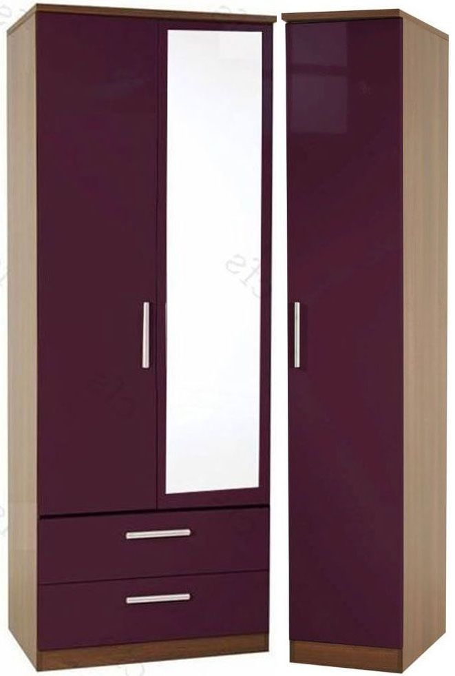Knightsbridge Aubergine Triple Wardrobe - Tall with 2 Drawer and Mirror