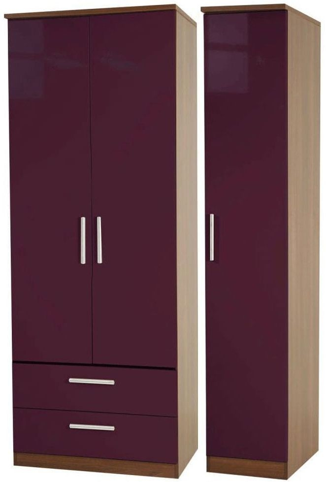 Knightsbridge Aubergine Triple Wardrobe - Tall with 2 Drawer