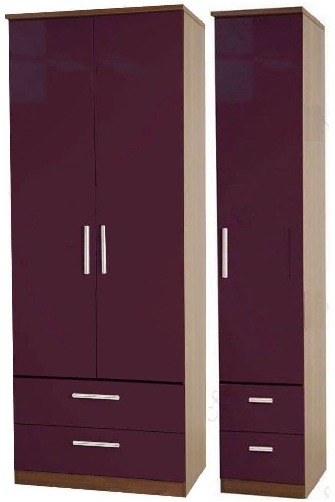 Knightsbridge Aubergine Triple Wardrobe - Tall with Drawer
