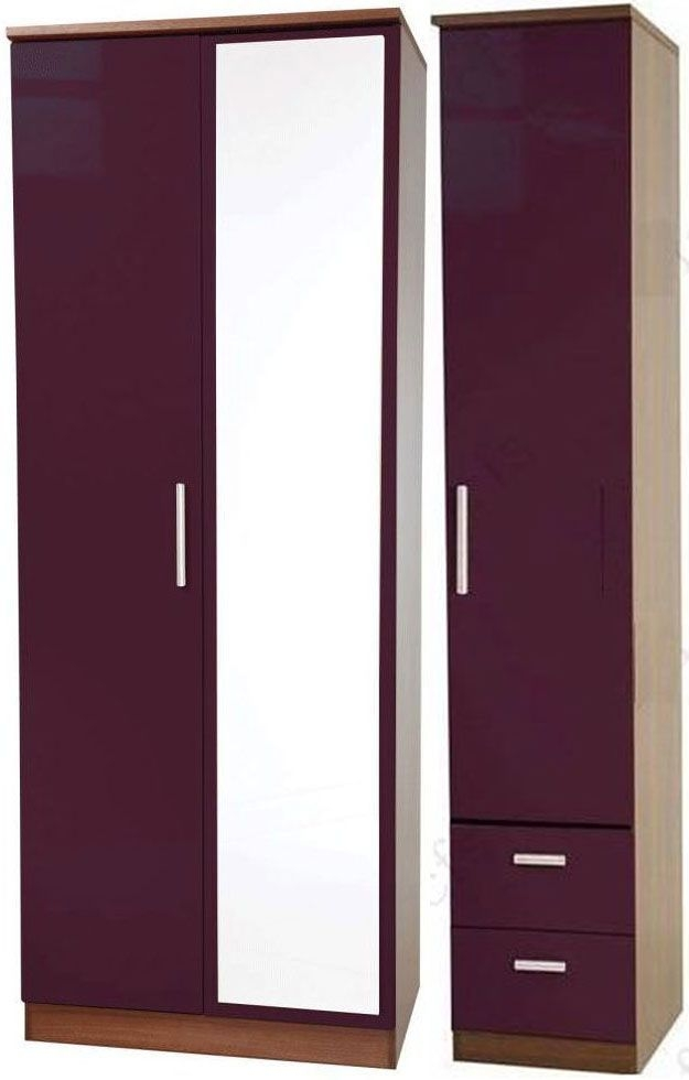 Knightsbridge Aubergine Triple Wardrobe - Tall with Mirror and 2 Drawer