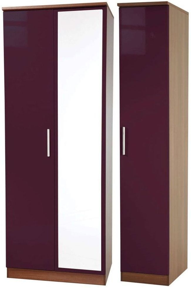 Knightsbridge Aubergine Triple Wardrobe - Tall with Mirror