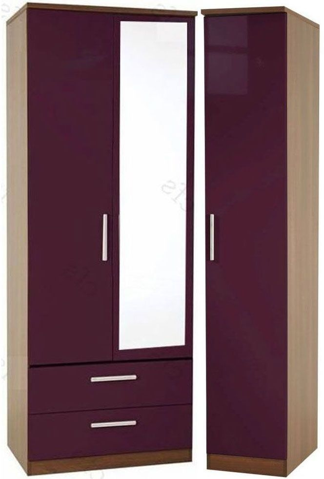 Knightsbridge Aubergine Triple Wardrobe with 2 Drawer and Mirror