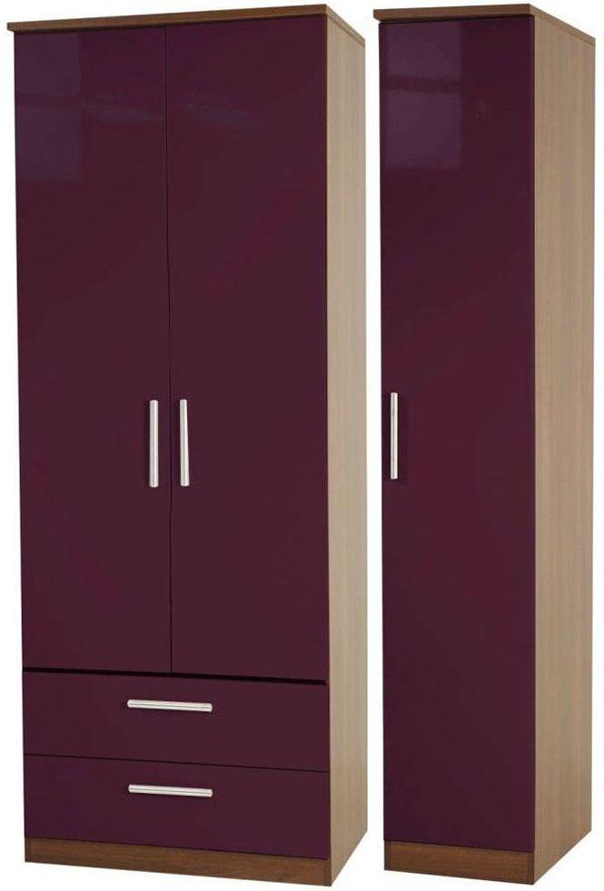 Knightsbridge Aubergine Triple Wardrobe with 2 Drawer