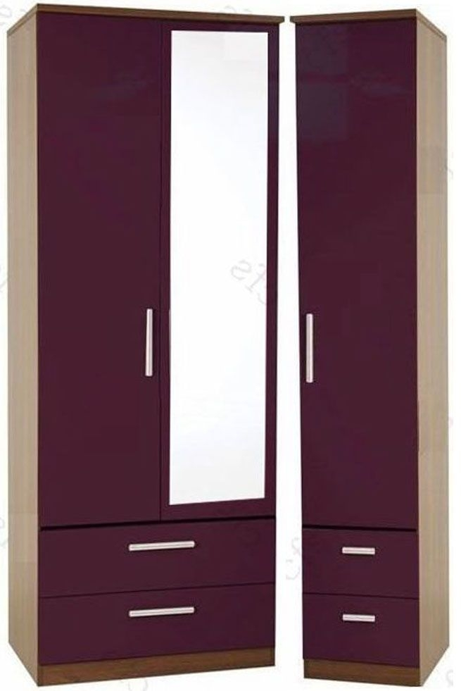 Knightsbridge Aubergine Triple Wardrobe with Drawer and Mirror