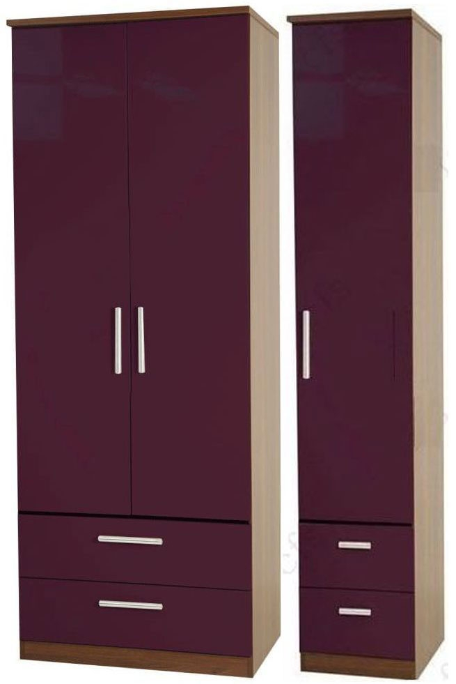 Knightsbridge Aubergine Triple Wardrobe with Drawer