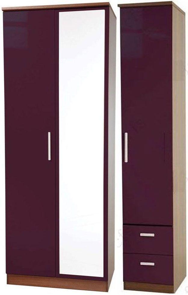 Knightsbridge Aubergine Triple Wardrobe with Mirror and 2 Drawer