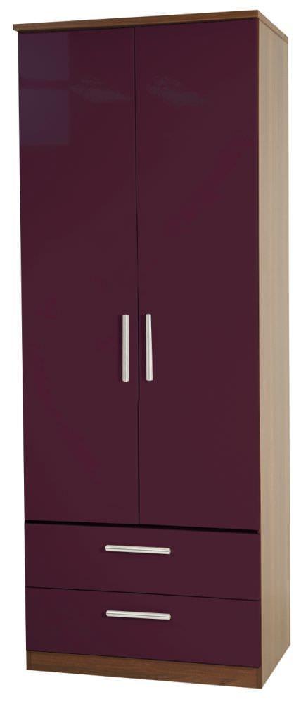 Knightsbridge Aubergine Wardrobe - Tall 2ft 6in 2 Drawer