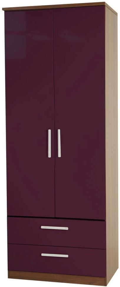 Knightsbridge Aubergine Wardrobe - Tall 2ft 6in with 2 Drawer