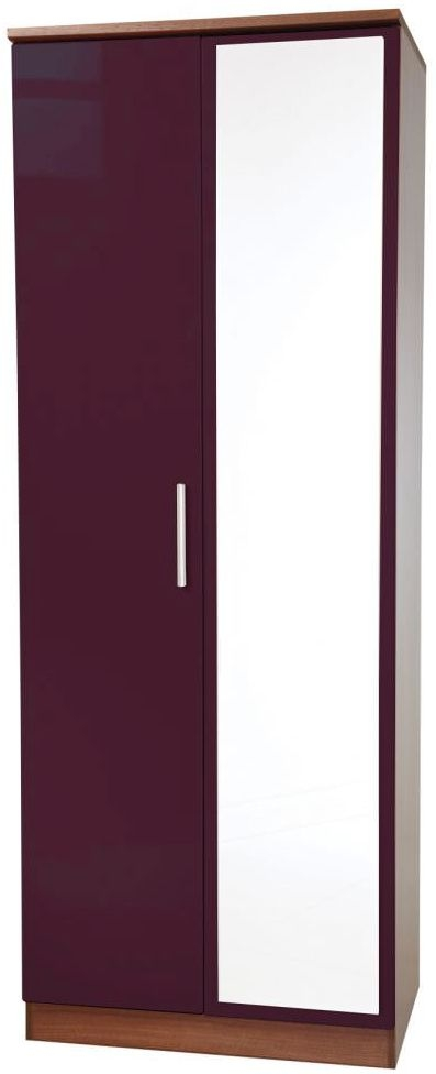 Knightsbridge Aubergine Wardrobe - Tall 2ft 6in with Mirror