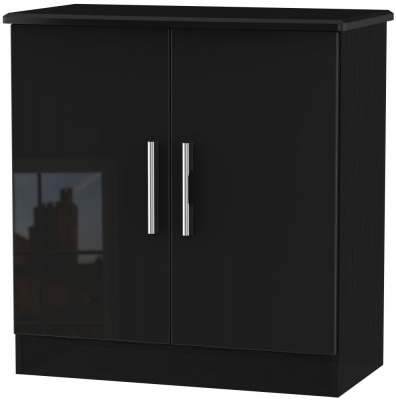 Knightsbridge High Gloss Black 2 Door Hall Unit