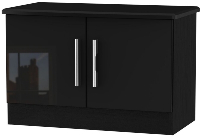 Knightsbridge High Gloss Black 2 Door Low Unit