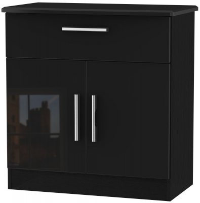 Knightsbridge High Gloss Black 2 Door 1 Drawer Narrow Sideboard