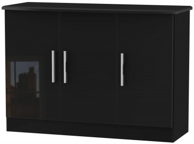 Knightsbridge High Gloss Black 3 Door Narrow Sideboard