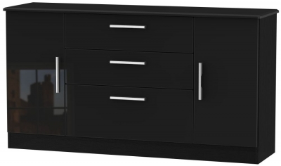 Knightsbridge High Gloss Black 2 Door 3 Drawer Wide Sideboard